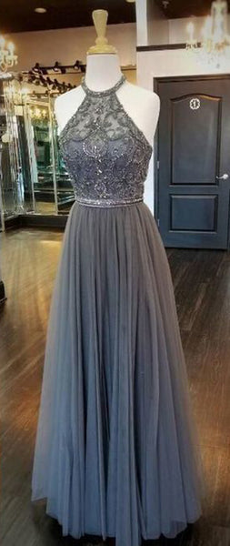 Grey Halter Beaded Tulle Prom Dress Long 2019 Custom Made Beadings Evening Gowns Fashion Long School Dance Dress PD461