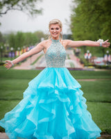 Halter Beaded Blue Quinceanera Dress 2019 Custom Made Tulle Beadings Prom Gowns Fashion Long Graduation Party Dress Beaded School Dance Dress Pageant Dress for Girls QD002