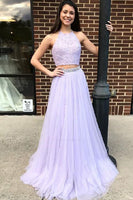 Lilac 2 Pieces Halter Beaded Tulle Prom Dress Long 2019 Custom Made Two Pieces Party Dress Fashion Long School Dance Dress Sweet 16th Dress PD462