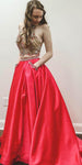 Halter Beaded 2 Pieces Long Prom Dress Custom Made Long Beadings Evening Gowns Fashion Long School Dance Dress Women's Pagent Dresses PD936