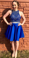 Royal Blue 2 Pieces Satin Homecoming Dress with Beadings Custom Made Short Beaded Graduation Party Dress Sweet 16th Dress HD061