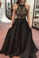 Halter Beaded Black A-Line Satin Prom Dress Custom Made Long Evening Party Dresses Fashion Beadings School Dance Dresses PD408