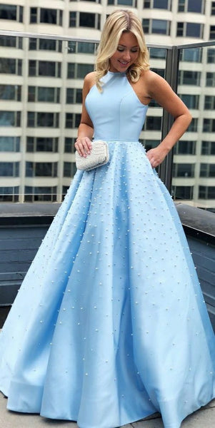 Elegant Beaded Long Prom Dress 2019 Custom Made Satin Evening Party Dress Fashion Long Blue School Dance Dress Pageant Dress for Girls PD648