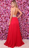 Halter Beaded Chiffon Long Open Back Prom Dress 2019 Custom Made Red Graduation Party Dress Fashion Long Sequins School Dance Dress Pageant Dress for Girls PD671