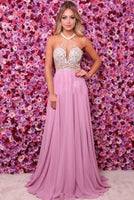 Sparkly Beaded Long Prom Dress Custom Made Long Sequined Evening Gowns Fashion Long Open Back School Dance Dresses PD752