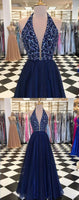 Halter Beaded Dark Royal Blue Prom DressesLong 2019 Custom Made Beadings Evening Party Dress Fashion Long School Dance Dress Pageant Dress for Girls PD679