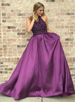 Grape Halter Beaded Prom Dress 2019 Custom Made Satin Beadings Graduation Party Dress Fashion Sequins School Dance Dress Pageant Dress for Girls PD602
