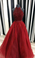 Halter Beaded Long Backless Prom Dress Custom Made Long Tulle Beadings Evening Gowns Fashion Long School Dance Dresses PD737