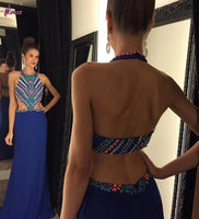 Halter Beaded Royal Blue Prom Dress Custom Made Fashion Long Backless Formal Evening Dress School Dance Dress PD373