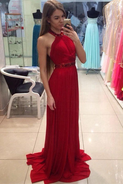 Halter Beaded Red Chiffon Prom Dress with Beaded Waist Custom Made Fashion Backless Long Formal Evening Dresses PD355