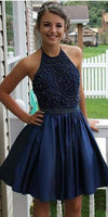 Halter Beaded Short Homecoming Dress 2019 Custom Made Cute Cocktail Dress Fashion Sweet 16th Dress Short Satin  Beadings Graduation Party Dress HD082