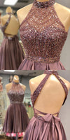 Halter Beaded Open Back Short Homecoming Dress 2019 Custom Made Satin Beadings Cocktail Dress Fashion Sequins Sweet 16th Dress Short School Dance Dress HD073