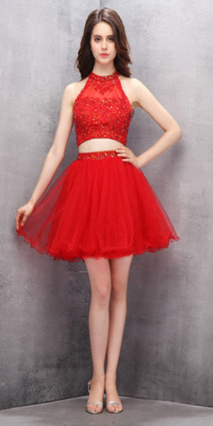 Halter 2 Pieces Red Short Homecoming Dress with Beadings Custom Made Cute Cocktail Dress Fashion Tulle Appliques Sweet 16th Dress Short Two Pieces Graduation Party Dress HD087
