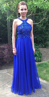 Halter Beaded Royal Blue Chiffon Prom Dress Custom Made Long A-Line Evening Gowns Fashion Beadings Graduation Party Dresses PD445