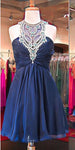 Custom Made O-Neck Beaded Chiffon Homecoming Dress Short Cross Back Party Dress HD028