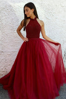 Halter Beaded Burgundy Prom Dress 2019 Custom Made Tulle A-Line Evening Party Dress Fashion Long Beadings School Dance Dress PD516
