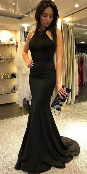 Mermaid Black Prom Dress with Beaded Neckline Custom Made Satin Beadings Evening Party Dress Fashion Long School Dance Dress Girls Pageant Dress PD567