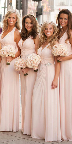 Custom Made Simple Floor Length Bridesmaid Dress Halter Beaded Formal Dress BD020