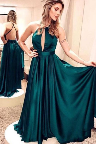 Sexy Spaghetti Straps Backless A-Line Satin Prom Dress Custom Made Fashion Long Evening Dress Graduation Party Dresses PD385