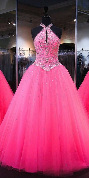 Halter Beaded Tulle Quinceanera Dress 2019 Custom Made Tulle Beadings Prom Gowns Fashion Long Graduation Party Dress Pageant Dress for Girls QD001