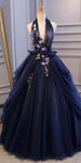 Halter Navy Tulle Prom Ball Gowns with flowers 2019 Custom Made Long Evening Dress Fashion Bridal Wedding Gowns PD468