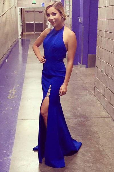 Elegant Mermaid Side Slit Royal Blue Prom Dress Custom Made Fashion Halter Long Evening Gowns PD222