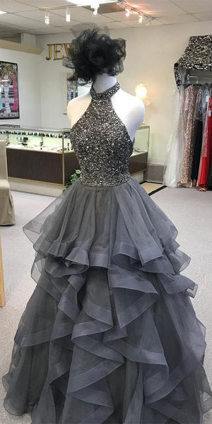 Sparkling Beaded Long Prom Dress Custom Made Long Tulle Beadings Quinceanera Dresses Fashion Long School Dance Dresses PD710