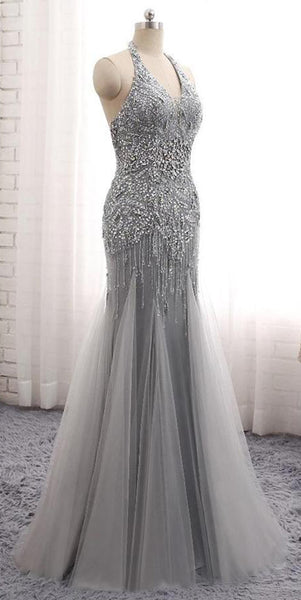 Sparkly Halter Beaded Mermaid Tulle Prom Dress Custom Made Long Evening Gowns Fashion Beadings School Dance Dresses PD405