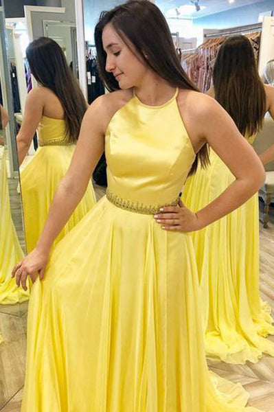 Custom Made Halter Yellow Chiffon A-Line Prom Dress with Beaded Waist Fashion Long Formal Evening Gowns PD360