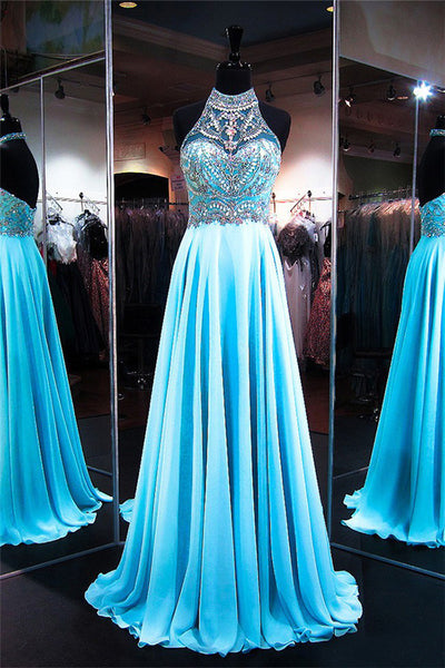 Halter Beaded A-Line Prom Dress Custom Made Fashion Long Beadings Evening Gowns PD289