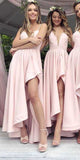 Custom Made High-Low Bridesmaid Dress Fashion Simple Satin Wedding Party Dress BD029