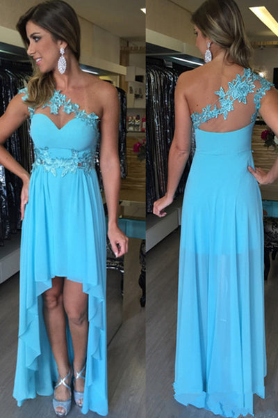 Sweetheart High-Low Prom Dress with Appliques Custom Made Fashion Blue Chiffon Evening Party Dress PD314