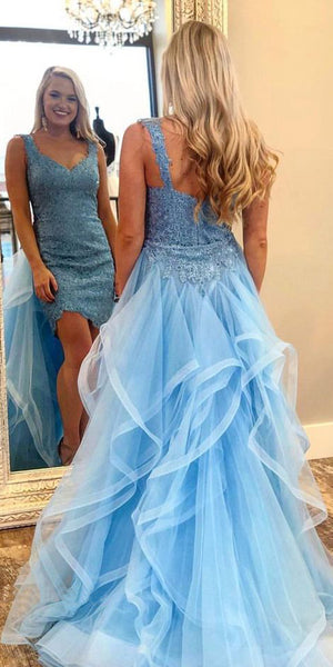 Sexy High Low Tulle Appliques Prom Dress Custom Made Evening Gowns Fashion School Dance Dress Women's Pagent Dresses PD904