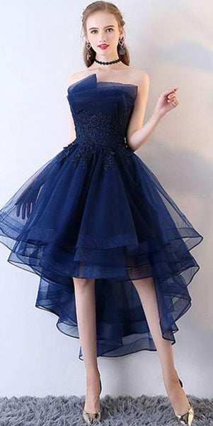 Sexy Strapless Short Prom Dress with Appliques Custom Made Short Party Dress Cute High Low Homecoming Dress Fashion Short School Dance Dress PDS013
