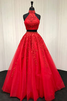 High Neck Beaded Appliques 2 Pieces Prom Dress 2019 Custom Made Tulle Two Pieces Evening Party Dress Fashion Long Open Back School Dance Dress PD517
