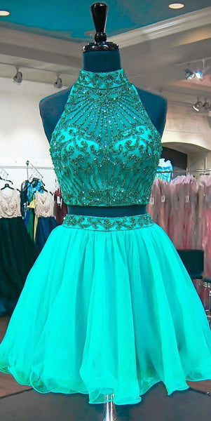 High Neck Beaded 2 Pieces Short Homecoming Dress Custom Made Open Back Graduation Party Dress Fashion Two Pieces Sweet 16th Dress Short Beadings School Dance Dress HD068