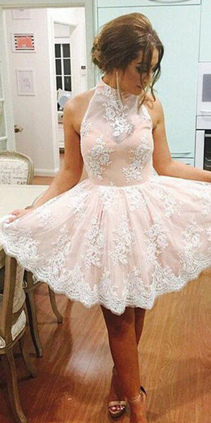 High Neck Open Back Lace Homecoming Dress Short A-Line Party Dress HD026