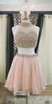 2 Pieces Beaded Bodice Homecoming Dress Short Pearl Pink Chiffon Party Dress HD024