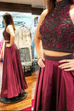 High Neck Beaded Burgundy 2 Pieces Prom Dress Custom Made Long Evening Gowns Fashion Black Beadings Graduation Party Dresses PD439