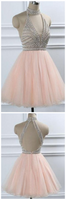 High Neck Beaded Short Open Back Homecoming Dress Custom Made Cute Short Cocktail Party Dress Fashion Short Tullle Beadings School Dance Dresses Sweet 16th Dress HD139