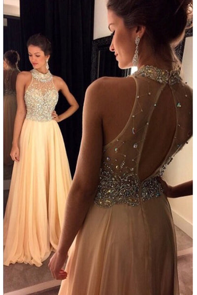 Beaded A-Line Open Back Chiffon Prom Dress Custom Made Fashion Long Beadings Evening Gowns PD290