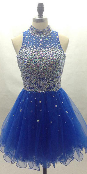 High Neck Tulle Beading Homecoming Dress Short Royal Blue Party Dress HD021