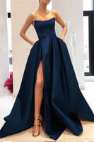 Custom Made High Side Slit Strapless Prom Dress Fashion Navy Satin Long Formal Evening Gowns PD361