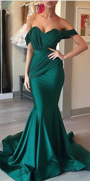 Sweetheart Mermaid Off Shoulder Prom Dress 2019 Custom Made Dark Green Evening Party Dress Fashion Long School Dance Dress PD525
