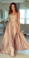 V-Neck Long Side Slit Appliques Prom Dress Custom Made Long Sleeves Evening Gowns Fashion Long School Dance Dress Women's Pagent Dresses PD925