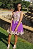Discount Short Appliques Homecoming Dress Custom Made Purple Graduation Party Dress HD049