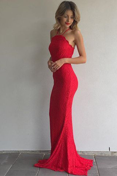 Custom Made Fashion Red Lace Mermaid Prom Dress Elegant Long Evening Gowns PD230