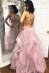 Sexy Cross Back Tulle A-Line Layers Prom Dress Fashion Long V-Neck Evening Dress PD201