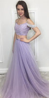 Lilac Tulle Beadings 2 pieces Prom Dress Custom Made Sexy Beaded Two Pieces Graduation Party Dress Fashion Pageant Dress for Girls School Dance Dress PD554