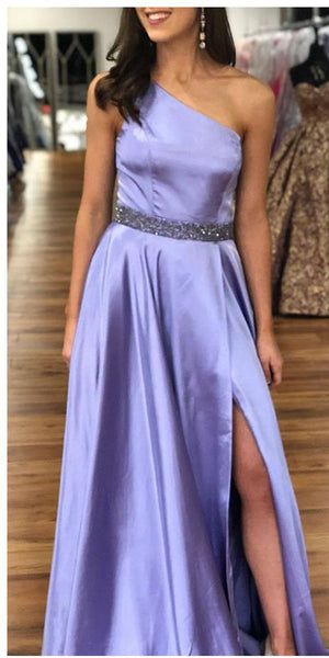 One Shoulder Long Prom Dress with Beaded Waist Custom Made Long Side Slit Evening Gowns Fashion Long School Dance Dress Women's Pagent Dresses PD923